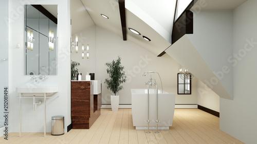 Modernes Bad Im Dachgeschoss Mit Dachschräge