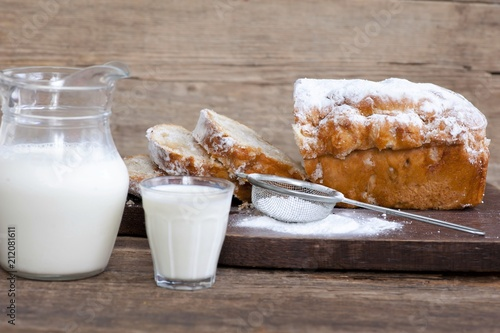 Garden Poster Bakery sweet bread with powdered cigars and milk