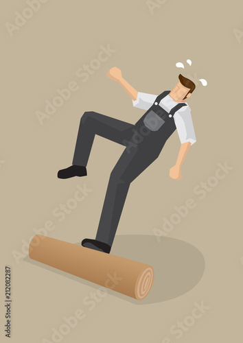 Workers Falling Backwards Vector Illustration Canvas Print