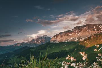 Naklejka Sunrise in Adelboden Switzerland Mountains