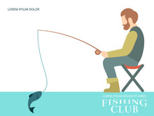Fishing Banner Design With Fisherman, Fish And Equipment