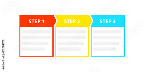 Three 3 easy steps process template - fototapety na wymiar