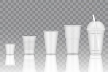 Vector Transparent Disposable Plastic Cup Mockups