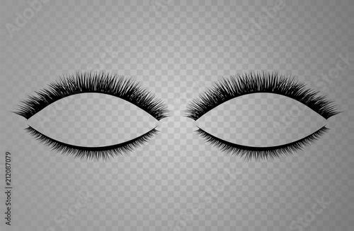 Vector realistic collection of false lashes. Trendy fashion illustration for mascara pack or beauty products design. Feminine eyelashes set on white background.