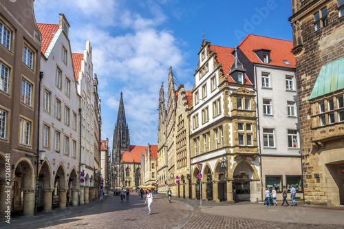 Foto auf Leinwand Europäische Regionen Prinzipalmarkt, Lambertikirche, Münster