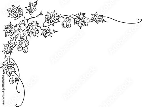 Hand Drawn Doodle Sketch Line Art Vector Illustration of Corner Ornament of Ripe Grape. Menu Poster Card Decoration Black Outline Design Element Template Fototapete