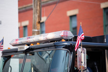 American Flag On Firetruck, Fourth Of July Parade