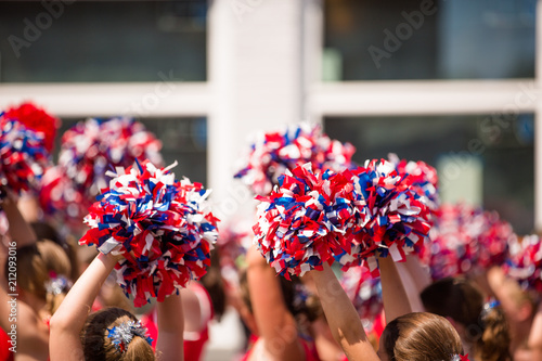 Fotomural Red, White and Blue Pom Poms, American Cheerleader