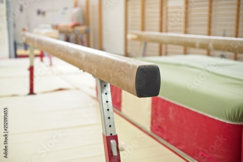 Gymnastics Hall. Gymnastic equipment.Beam