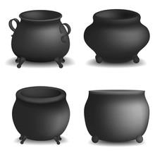 Cauldron Pot Halloween Mockup Set. Realistic Illustration Of 4 Cauldron Pot Halloween Vector Mockups For Web