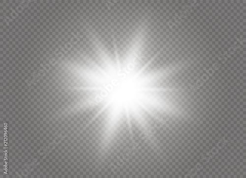 Fototapeta Glow light effect. Star burst with sparkles. Vector illustration. obraz na płótnie