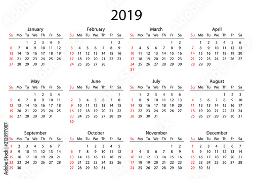 Calendar 2019. Calendar grid 2019 year black on white ...