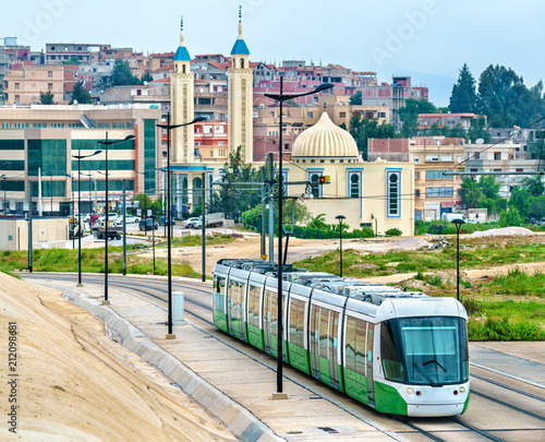 Poster Algérie City tram and a mosque in Constantine, Algeria