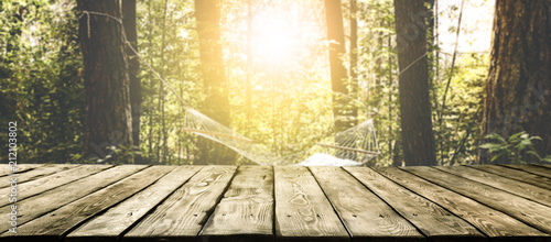Fotografia  Desk of free space and summer background of forest