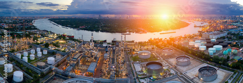 Fototapeta Aerial view of twilight of oil refinery ,Shot from drone of Oil refinery and Petrochemical plant at dusk . obraz