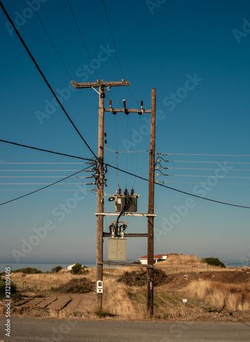 Keuken foto achterwand Mediterraans Europa Typical electric pole in Peloponnese, Greece.