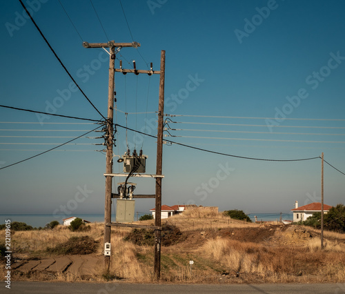 Deurstickers Mediterraans Europa Typical electric pole in Peloponnese, Greece.