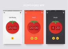 Pomodoro Technique. App Ui Design Template With Pomodoro Clock. Time Management. Vector Illustartion