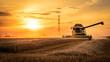 canvas print picture - Mähdrescher erntet auf Feld im Sonnenuntergang