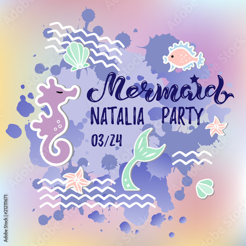 Mermaid Party Text Isolated On Background Hand Drawn Lettering As Logotype Badge Patch Icon Template For Birthday Invitation