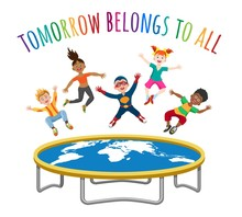 Trampoline Jumping Children. Active Cartoon Kid With World Map And Wording Tomorrow Belongs To All, Human Freedom Concept, Vector Illustration
