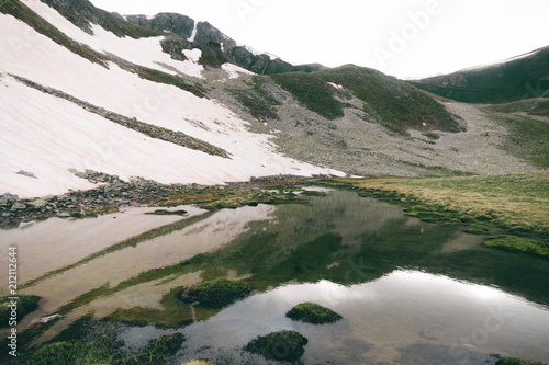 Spoed Foto op Canvas Wit highlands lake landscape with water reflection, green hills and snow