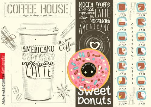 Tuinposter Vintage Poster Coffee Menu Design