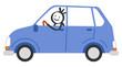 Mann fährt Auto, Strichmännchen, Mann am Steuer, blauer PKW