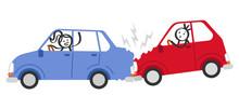Auffahrunfall, Autounfall, Verkehrsunfall, Strichmännchen In Autos Schimpfen