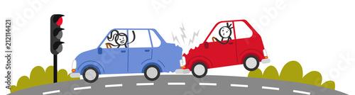 Fotobehang Cartoon cars Auffahrunfall, Autounfall, Verkehrsunfall, Strichmännchen in Autos schimpfen, Banner