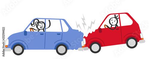 Staande foto Cartoon cars Auffahrunfall, Autounfall, Verkehrsunfall, Strichmännchen in Autos schimpfen