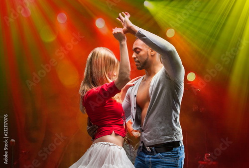 Door stickers Dance School Young couple dances Caribbean Salsa