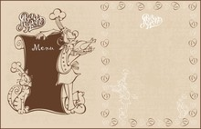 Menu For The Cafe. Chef And Cat Cook In Cartoon Style. Bon Appetit. Lettering. Vintage Style.   Vector Illustration