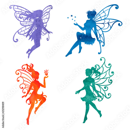 Set of watercolor fairy. Vector illustrations isolated on white. Fototapeta