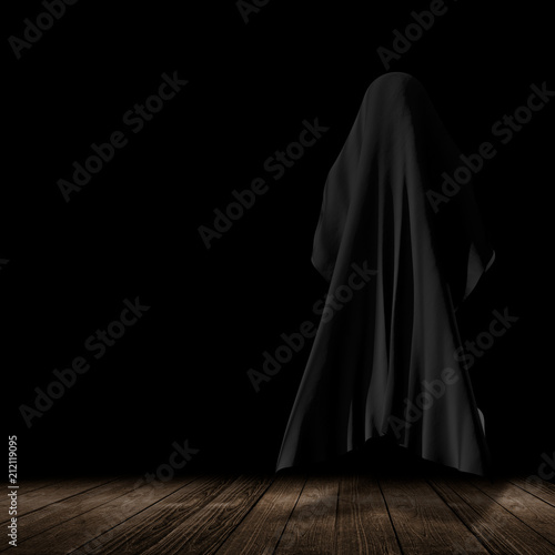 Láminas  faceless thing over wooden floor with black background