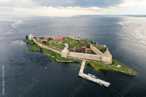 Photo  Aerial view on fortress Oreshek near Shlisselburg