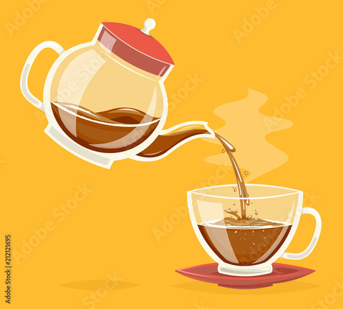 Pour coffee drink from glass teapot stream flow water retro vintage cartoon icon design vector illustration