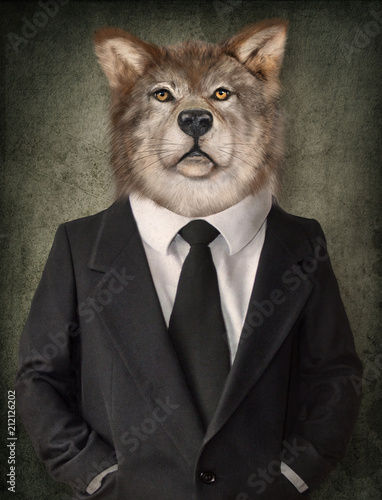Garden Poster Hipster Animals Wolf in a suit. Man with a head of lion. Concept graphic in vintage style.