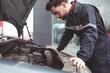 Male mechanic servicing car