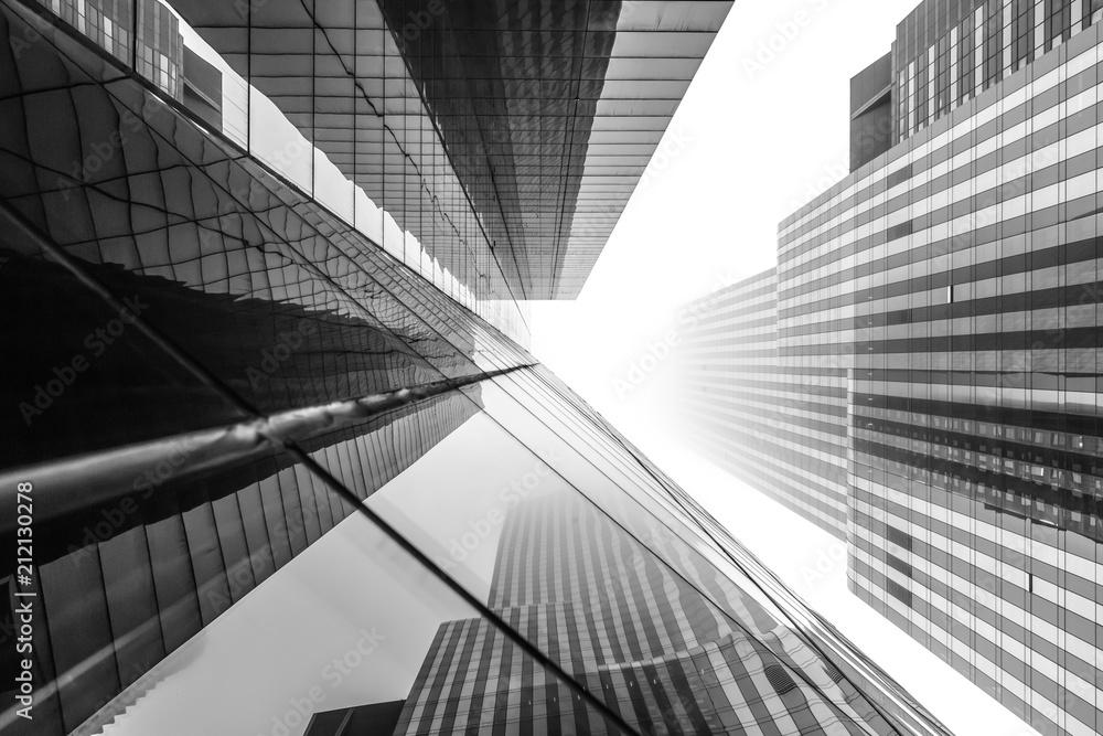Fototapeta New York skyscrapers on a foggy day