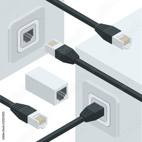 Fotografía  network internet data connectors