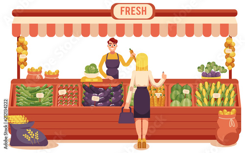 Cartoon local farmer market concept with young woman buying food in wooden store with vegetables and smiling seller man holding carrot Fototapete