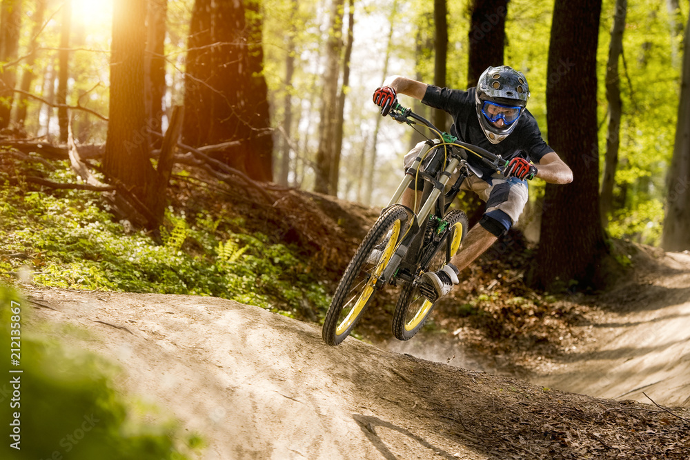 Fototapeta The cyclist on the downhill bike goes through the forest
