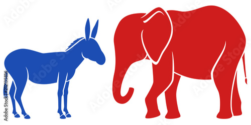 Papel de parede Vector illustration of a blue donkey and a red elephant, representing the Democratic and Republican political parties in the United States