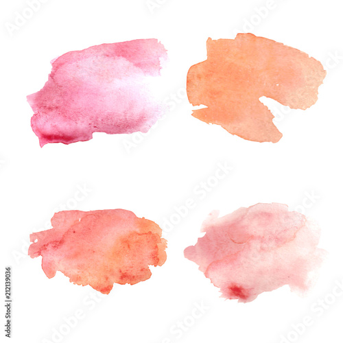 Fotografía  Abstract pink watercolor spots set
