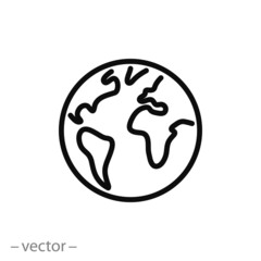 planet linear vector icon, earth line sign isolated on white background - editable stroke, vector illustration eps10