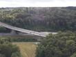 Aerial view of highway bridge in forest in Switzerland, Europe