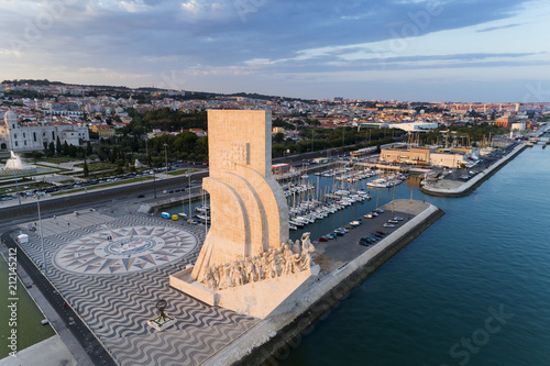 Aerial view of the Belém neighborhood in the city of Lisbon at sunset; Concept for travel in Portugal and visit Lisbon