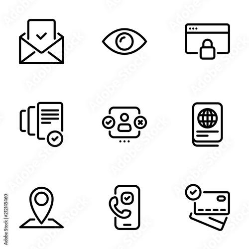 Set of black vector icons, isolated on white background, on theme Verification