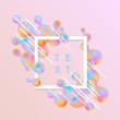 Trendy background template with vibrant gradient pink blue colors abstract round shapes flow, square frame with text space. Vector modern poster, banner, presentation layout, minimal style backdrop.